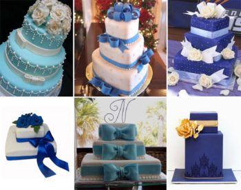 Синий свадебный торт: с цветами, без мастики, с кремом