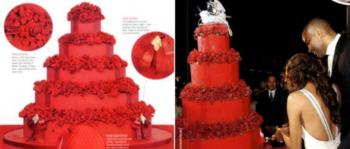 Красный свадебный торт с розами и другими цветами